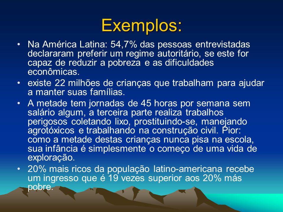 Exemplos: Na América Latina: 54,7% das pessoas entrevistadas declararam preferir um regime autoritário, se este for capaz de reduzir a pobreza e as di