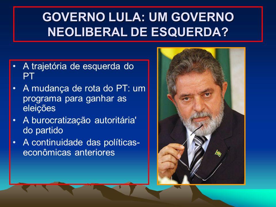 GOVERNO LULA: UM GOVERNO NEOLIBERAL DE ESQUERDA? A trajetória de esquerda do PT A mudança de rota do PT: um programa para ganhar as eleições A burocra