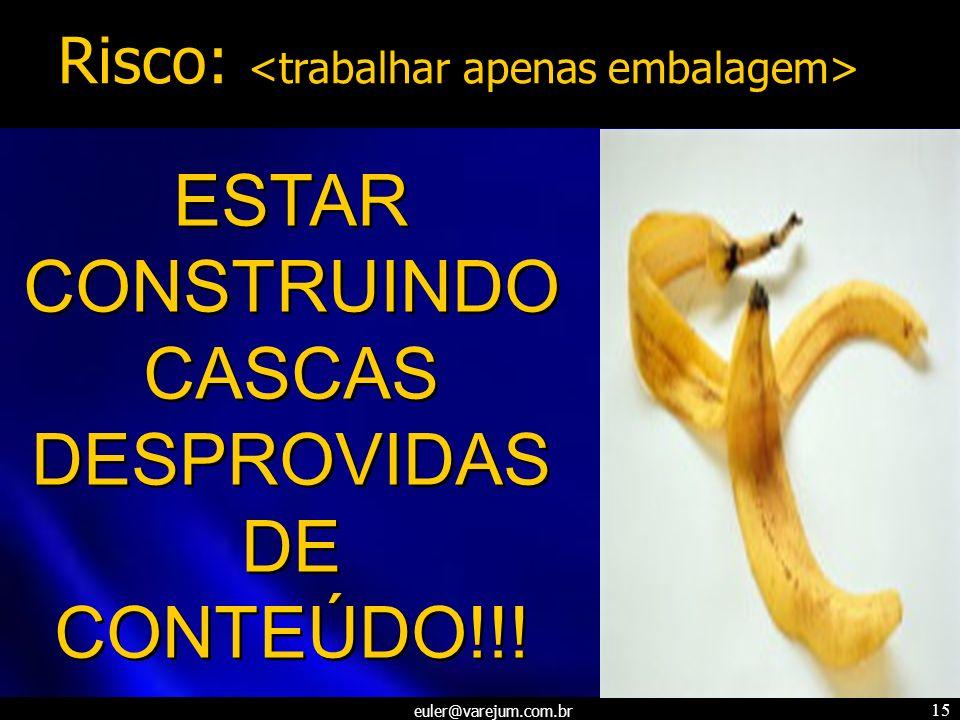 euler@varejum.com.br 15 ESTAR CONSTRUINDO CASCAS DESPROVIDAS DE CONTEÚDO!!! ESTAR CONSTRUINDO CASCAS DESPROVIDAS DE CONTEÚDO!!! Risco: