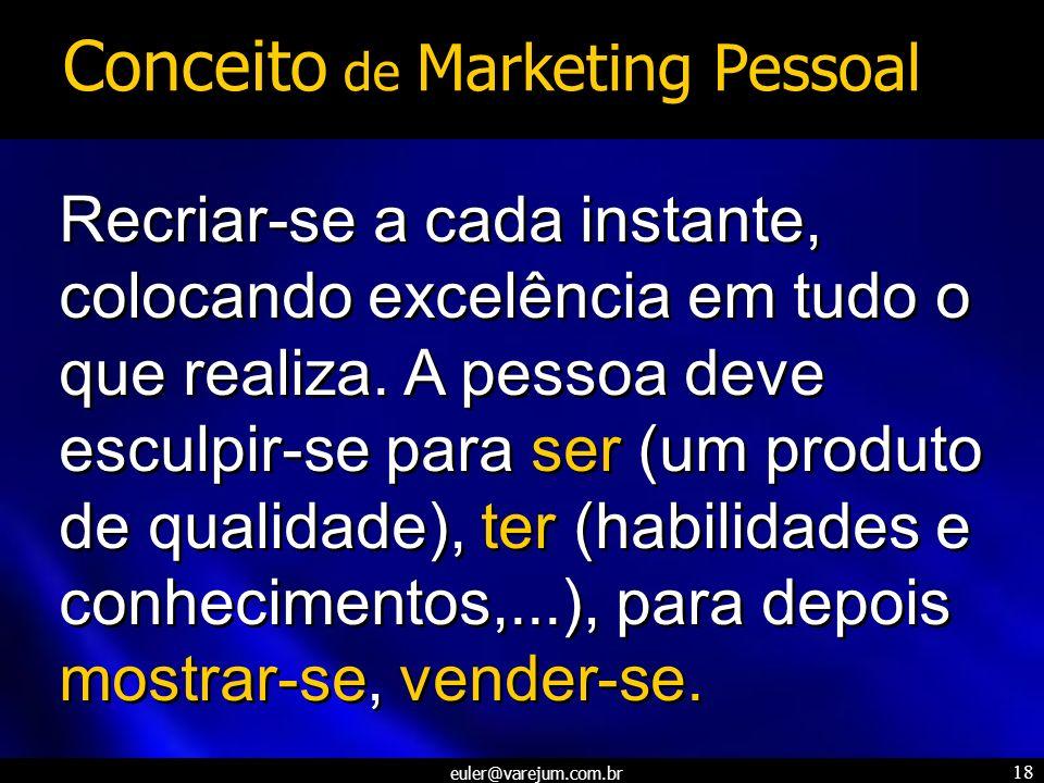 euler@varejum.com.br 18 Recriar-se a cada instante, colocando excelência em tudo o que realiza. A pessoa deve esculpir-se para ser (um produto de qual