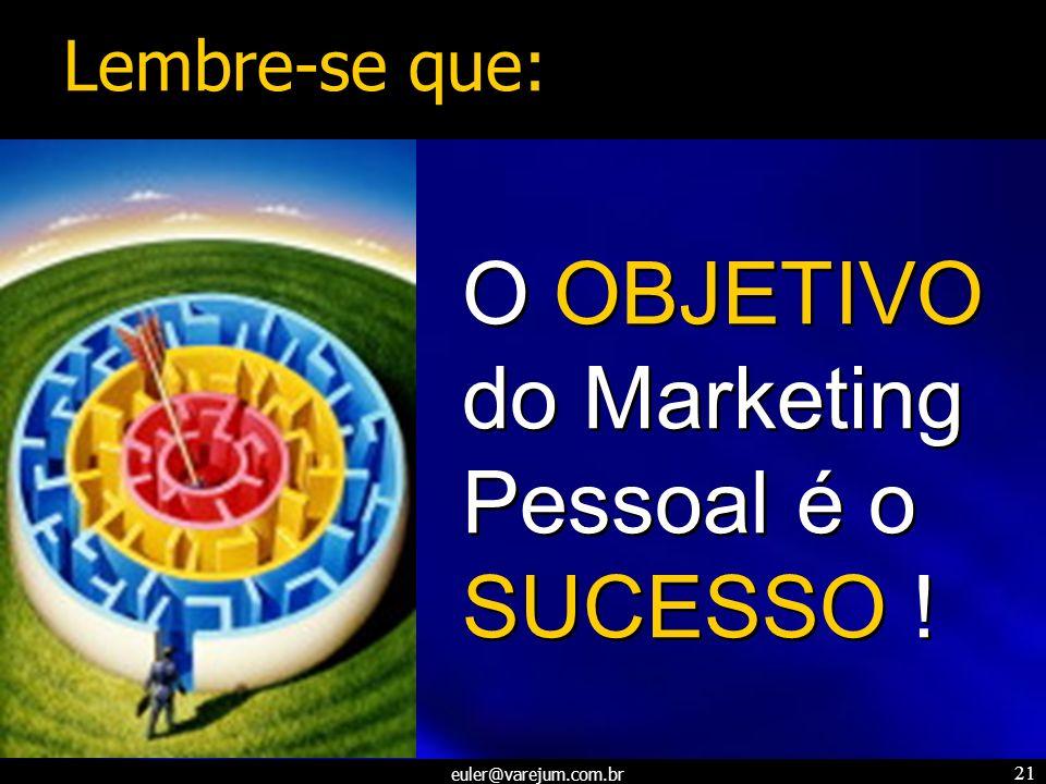 euler@varejum.com.br 21 O OBJETIVO do Marketing Pessoal é o SUCESSO ! Lembre-se que: