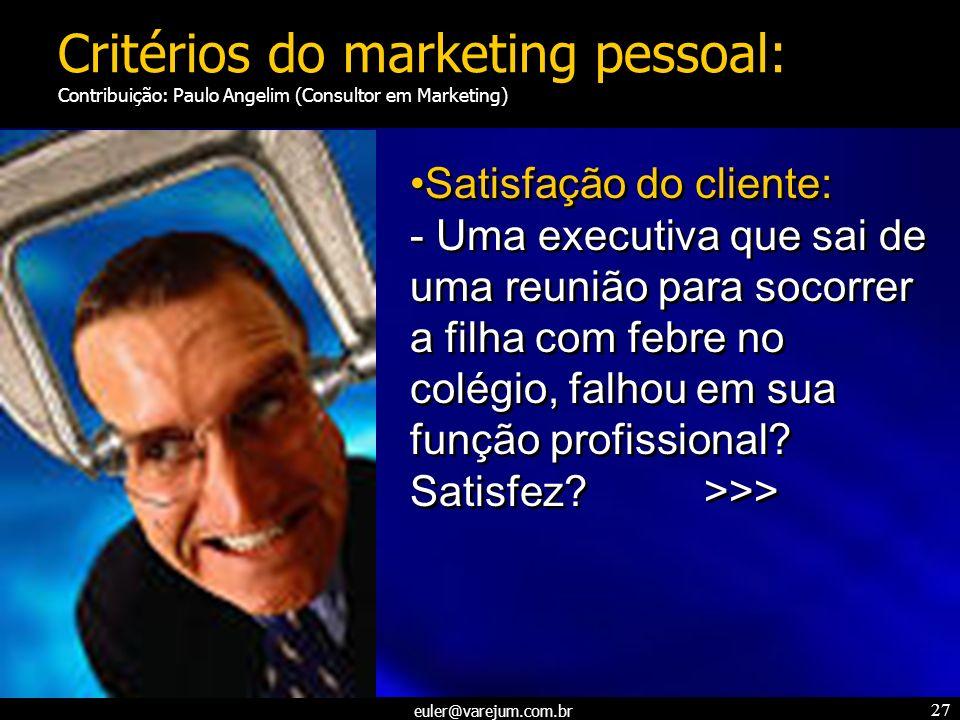 euler@varejum.com.br 27 Satisfação do cliente: - Uma executiva que sai de uma reunião para socorrer a filha com febre no colégio, falhou em sua função