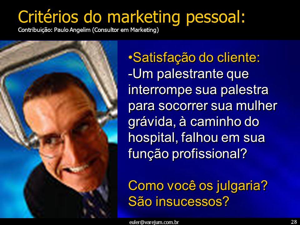 euler@varejum.com.br 28 Satisfação do cliente: -Um palestrante que interrompe sua palestra para socorrer sua mulher grávida, à caminho do hospital, fa