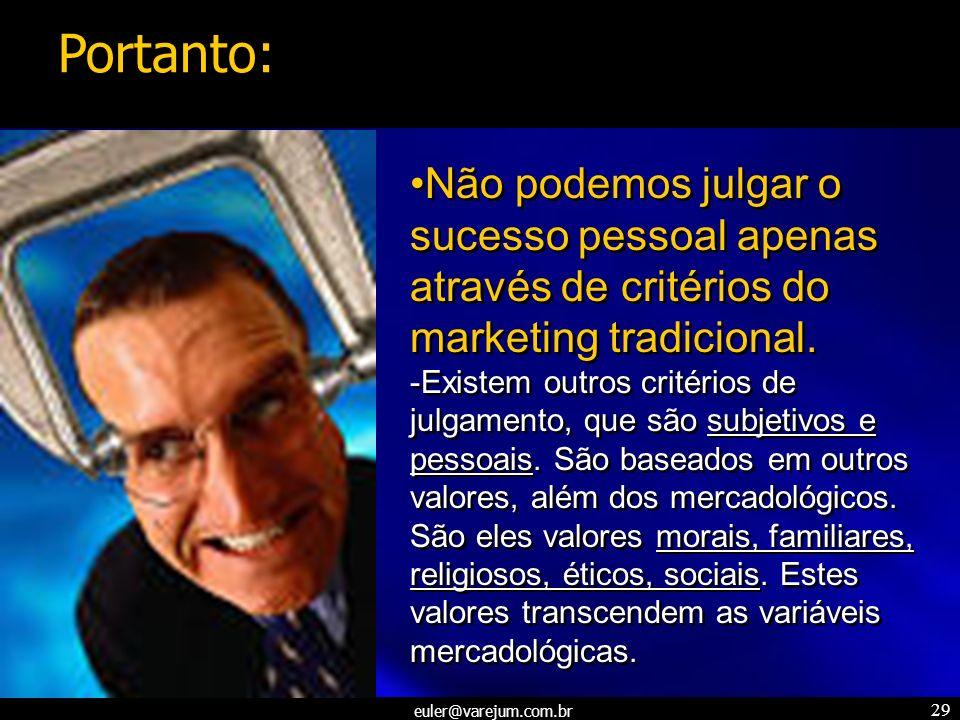 euler@varejum.com.br 29 Não podemos julgar o sucesso pessoal apenas através de critérios do marketing tradicional. -Existem outros critérios de julgam