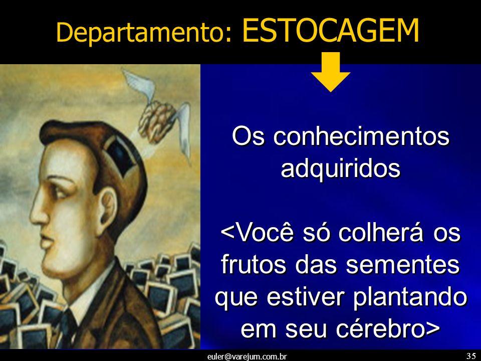 euler@varejum.com.br 35 Departamento: ESTOCAGEM Os conhecimentos adquiridos Os conhecimentos adquiridos