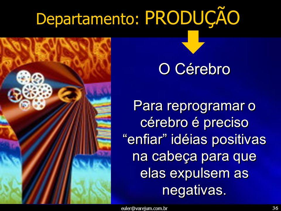 euler@varejum.com.br 36 Departamento: PRODUÇÃO O Cérebro Para reprogramar o cérebro é preciso enfiar idéias positivas na cabeça para que elas expulsem