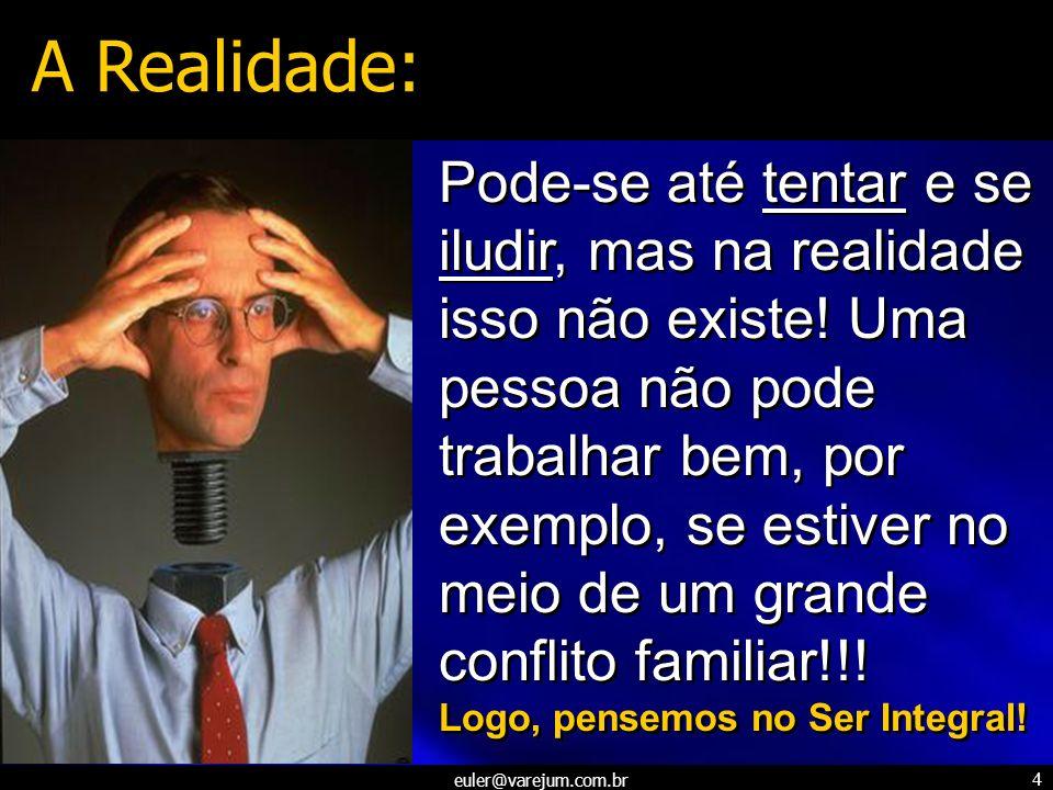 euler@varejum.com.br 4 Pode-se até tentar e se iludir, mas na realidade isso não existe! Uma pessoa não pode trabalhar bem, por exemplo, se estiver no