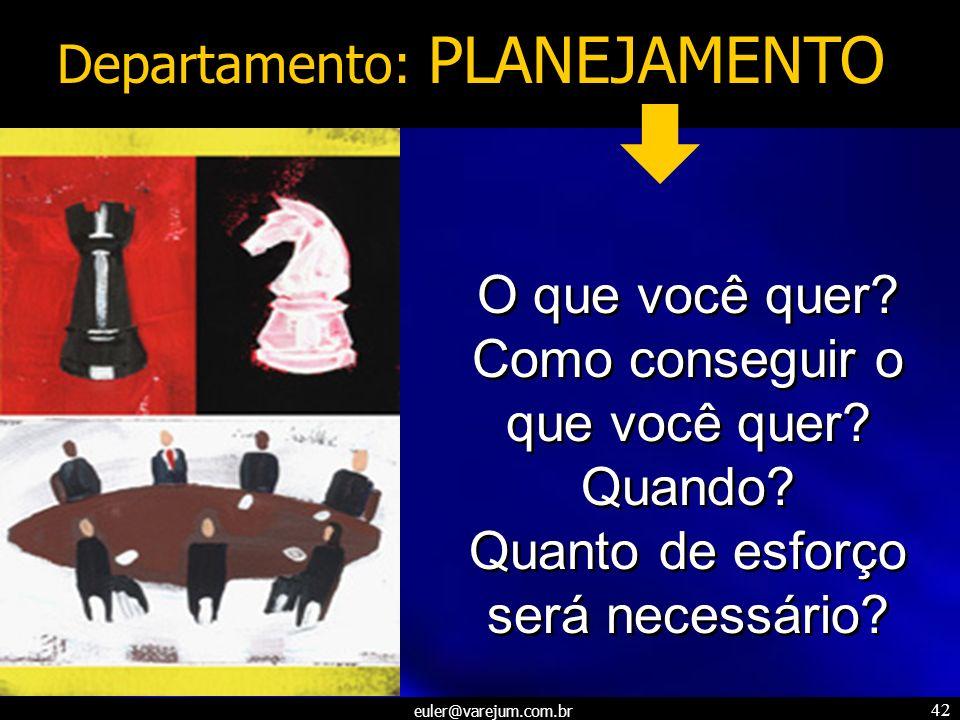 euler@varejum.com.br 42 Departamento: PLANEJAMENTO O que você quer? Como conseguir o que você quer? Quando? Quanto de esforço será necessário? O que v