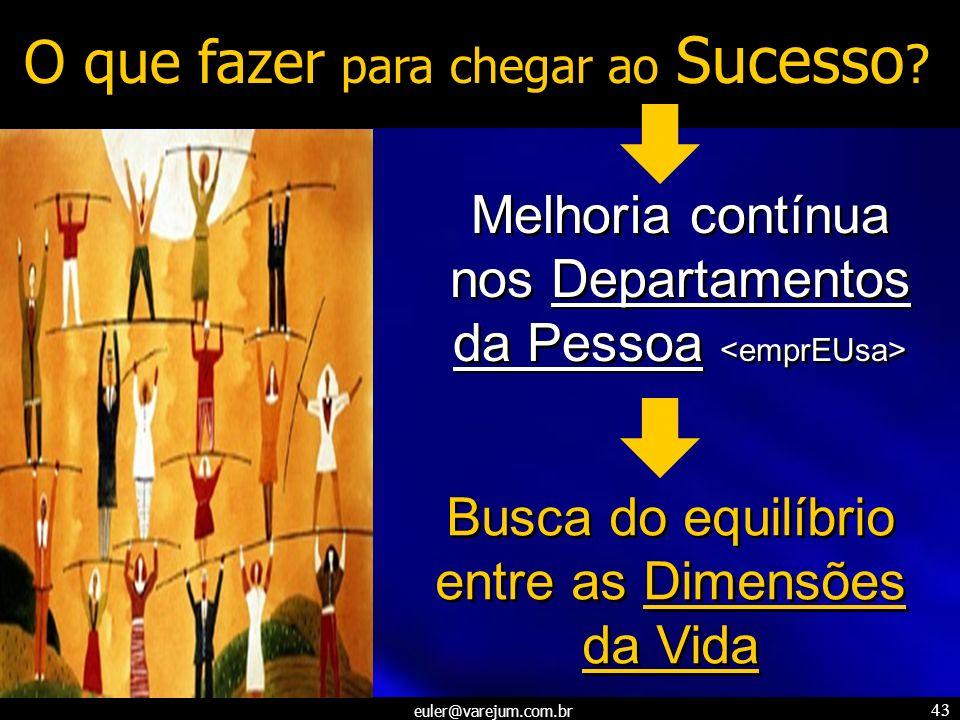 euler@varejum.com.br 43 O que fazer para chegar ao Sucesso ? Busca do equilíbrio entre as Dimensões da Vida Melhoria contínua nos Departamentos da Pes