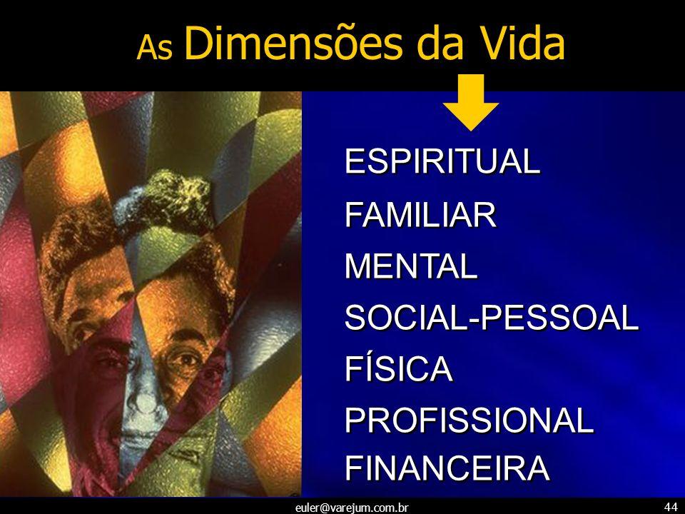 euler@varejum.com.br 44 As Dimensões da Vida ESPIRITUAL FAMILIAR MENTAL SOCIAL-PESSOAL FÍSICA PROFISSIONAL FINANCEIRA