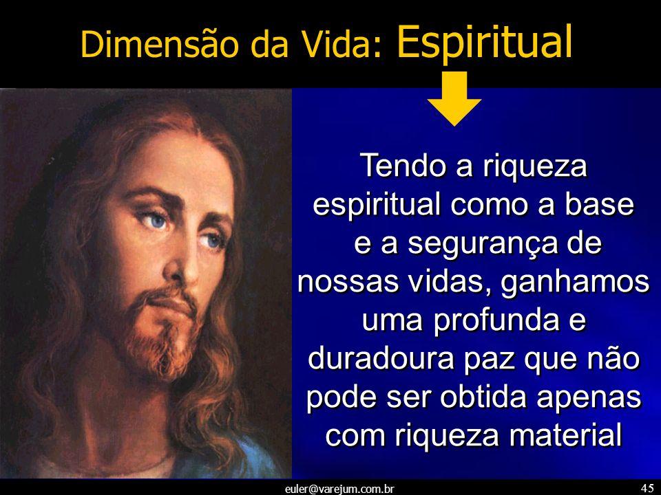 euler@varejum.com.br 45 Dimensão da Vida: Espiritual Tendo a riqueza espiritual como a base e a segurança de nossas vidas, ganhamos uma profunda e dur