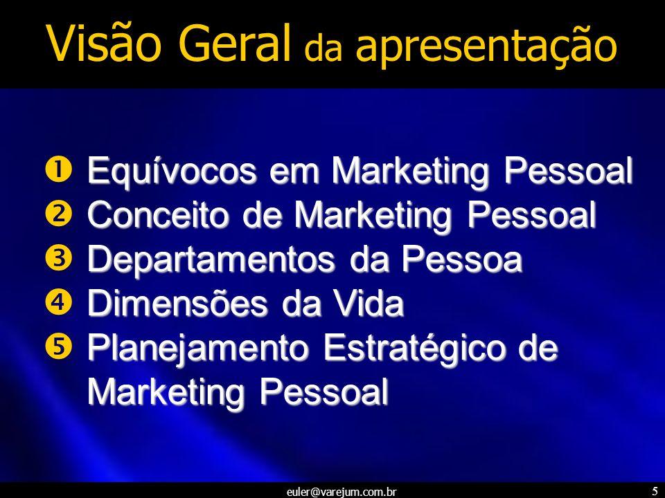 euler@varejum.com.br 5 Visão Geral da apresentação Equívocos em Marketing Pessoal Conceito de Marketing Pessoal Departamentos da Pessoa Dimensões da V