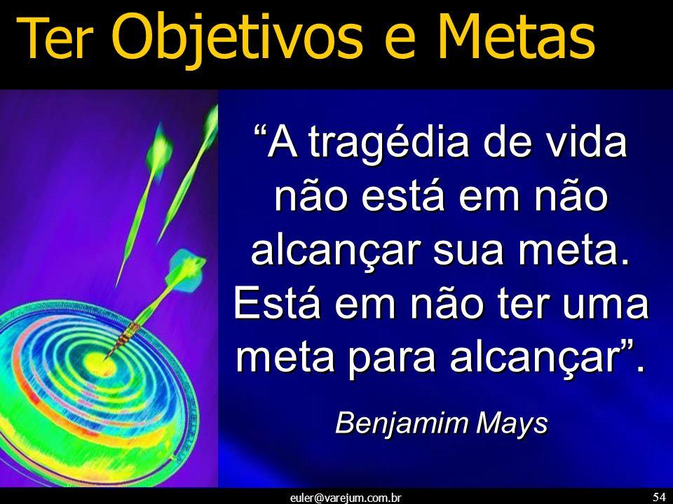 euler@varejum.com.br 54 Ter Objetivos e Metas A tragédia de vida não está em não alcançar sua meta. Está em não ter uma meta para alcançar. Benjamim M