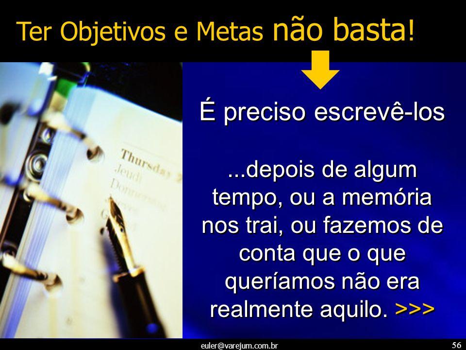 euler@varejum.com.br 56 Ter Objetivos e Metas não basta ! É preciso escrevê-los...depois de algum tempo, ou a memória nos trai, ou fazemos de conta qu