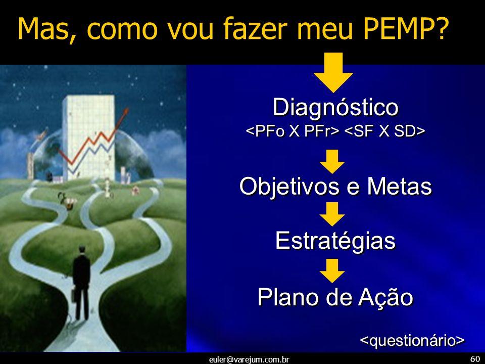euler@varejum.com.br 60 Mas, como vou fazer meu PEMP? Diagnóstico Diagnóstico Objetivos e Metas Estratégias Plano de Ação