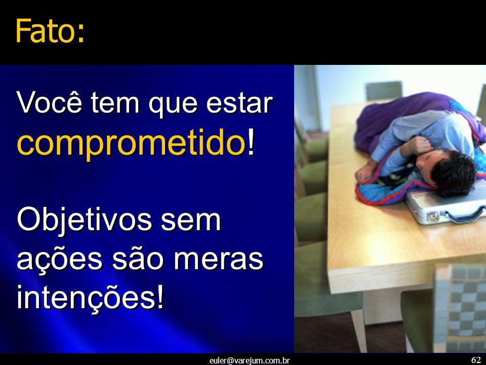 euler@varejum.com.br 62 Você tem que estar comprometido! Objetivos sem ações são meras intenções! Você tem que estar comprometido! Objetivos sem ações
