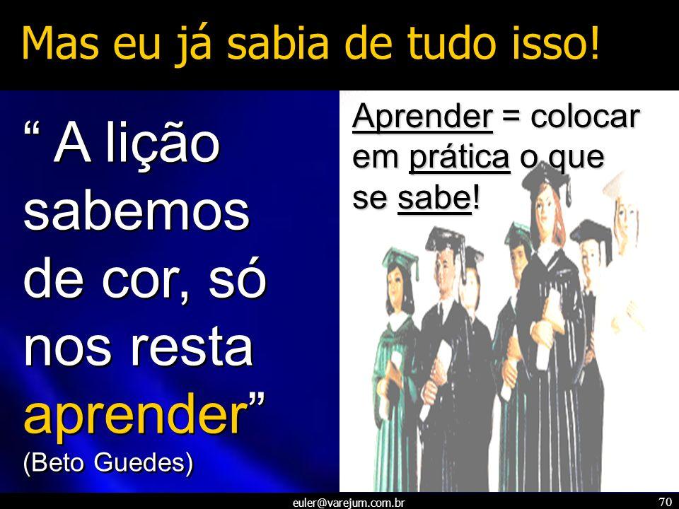 euler@varejum.com.br 70 Mas eu já sabia de tudo isso! A lição sabemos de cor, só nos resta aprender (Beto Guedes) A lição sabemos de cor, só nos resta