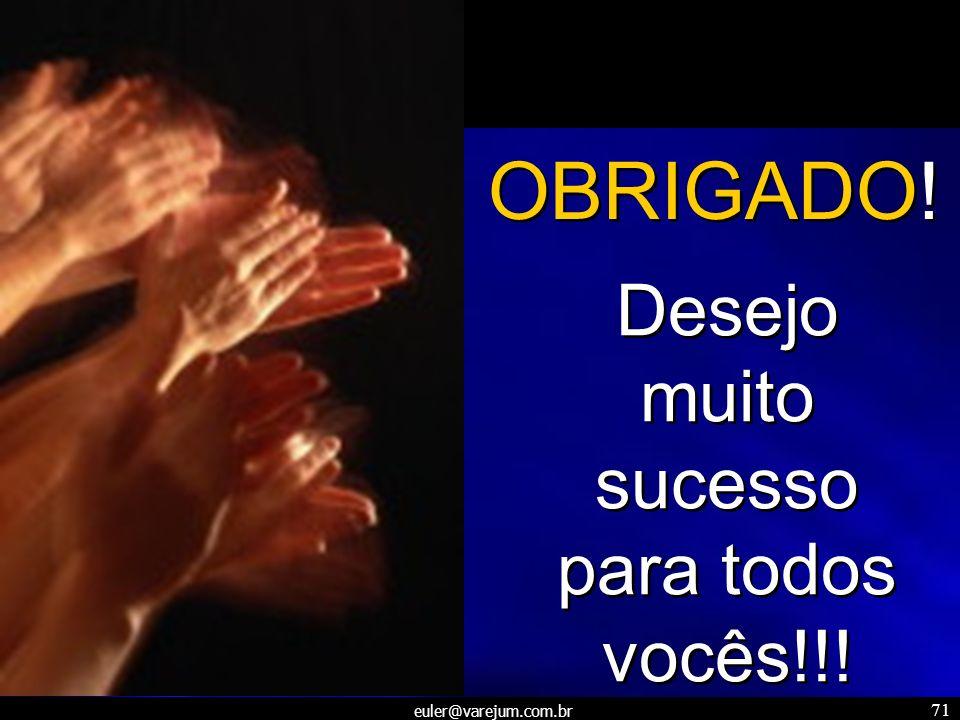 euler@varejum.com.br 71 Desejo muito sucesso para todos vocês!!! OBRIGADO!