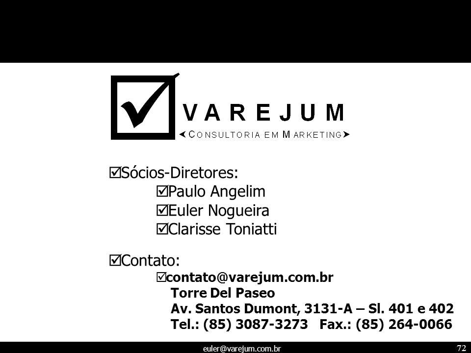 euler@varejum.com.br 72 Sócios-Diretores: Paulo Angelim Euler Nogueira Clarisse Toniatti Contato: contato@varejum.com.br Torre Del Paseo Av. Santos Du
