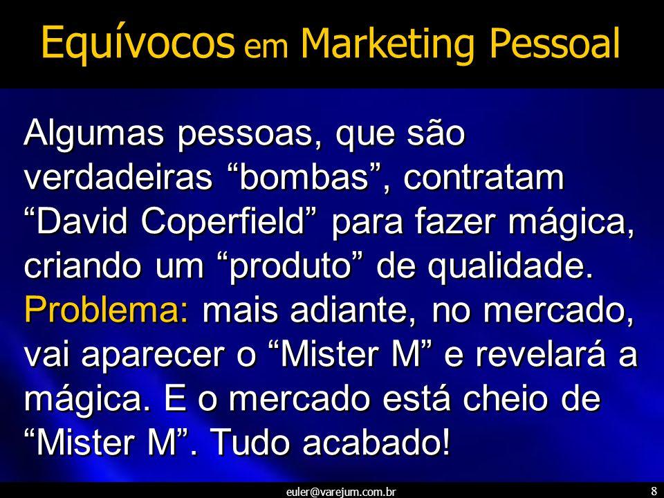 euler@varejum.com.br 8 Equívocos em Marketing Pessoal Algumas pessoas, que são verdadeiras bombas, contratam David Coperfield para fazer mágica, crian