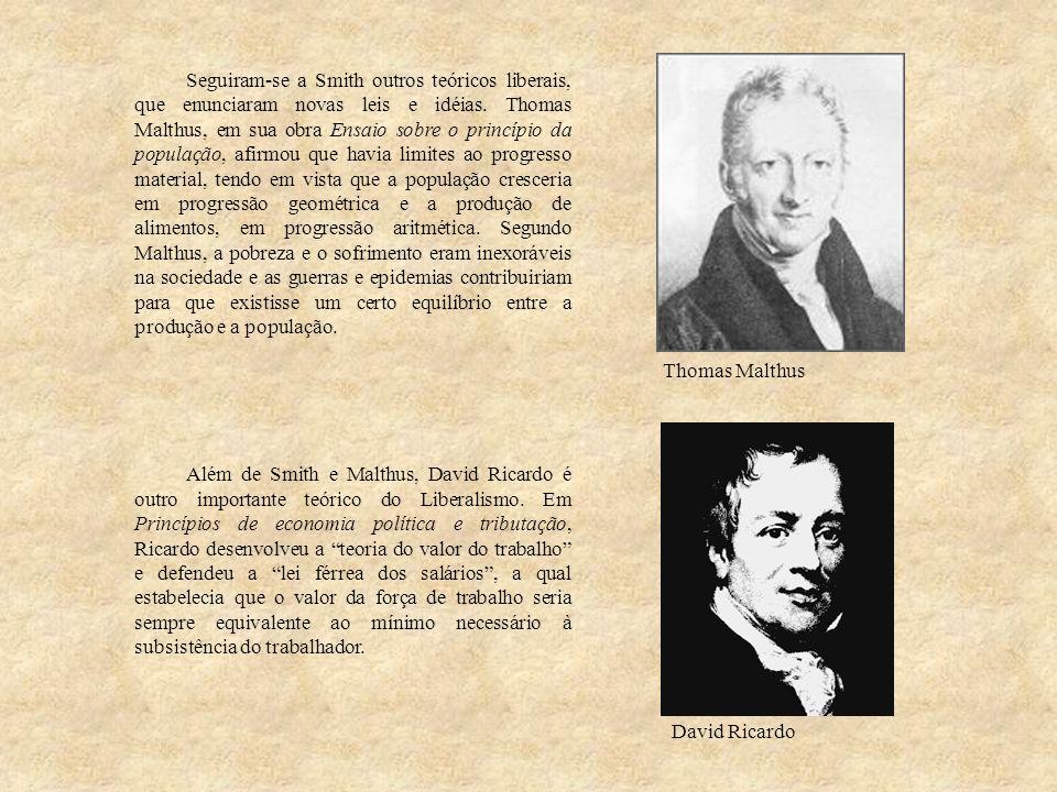 Seguiram-se a Smith outros teóricos liberais, que enunciaram novas leis e idéias. Thomas Malthus, em sua obra Ensaio sobre o princípio da população, a