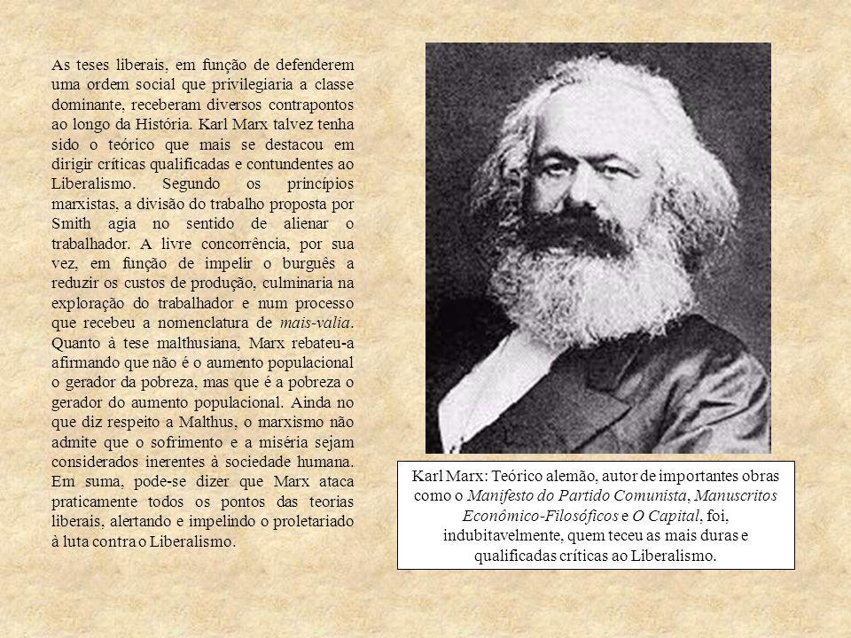 As teses liberais, em função de defenderem uma ordem social que privilegiaria a classe dominante, receberam diversos contrapontos ao longo da História