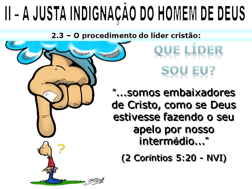 2.3 – O procedimento do líder cristão:...somos embaixadores de Cristo, como se Deus estivesse fazendo o seu apelo por nosso interm é dio... (2 Cor í n