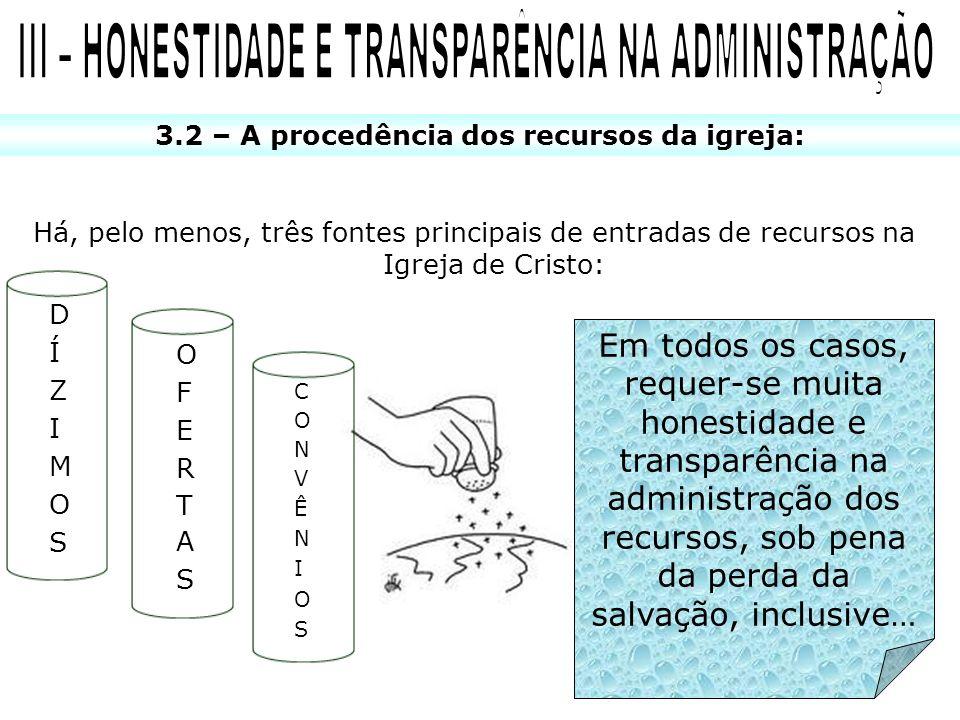 3.2 – A procedência dos recursos da igreja: Há, pelo menos, três fontes principais de entradas de recursos na Igreja de Cristo: Em todos os casos, req