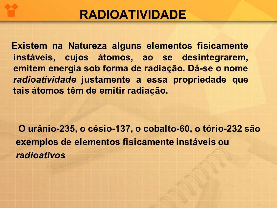 RADIOATIVIDADE Existem na Natureza alguns elementos fisicamente instáveis, cujos átomos, ao se desintegrarem, emitem energia sob forma de radiação. Dá