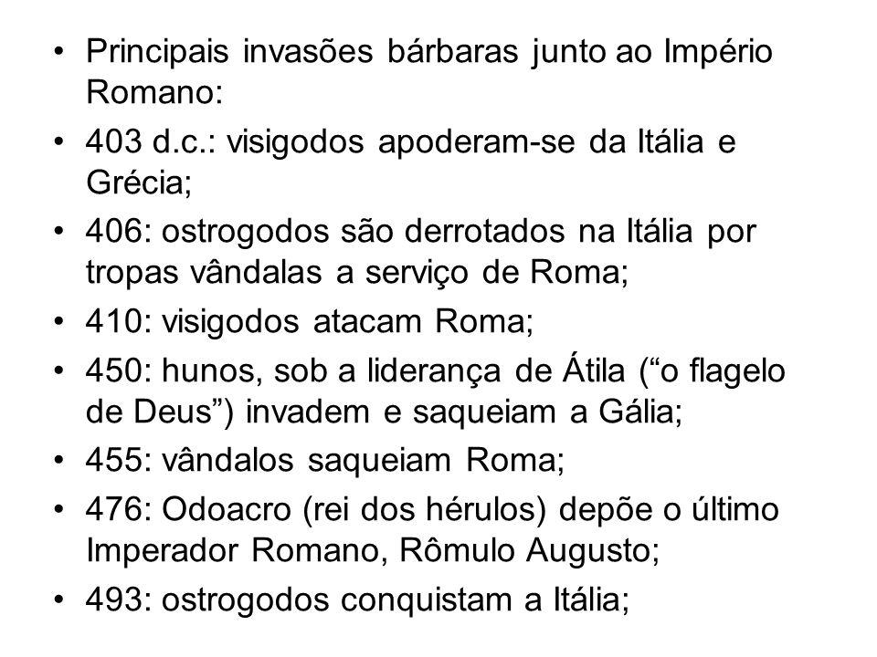 Principais invasões bárbaras junto ao Império Romano: 403 d.c.: visigodos apoderam-se da Itália e Grécia; 406: ostrogodos são derrotados na Itália por