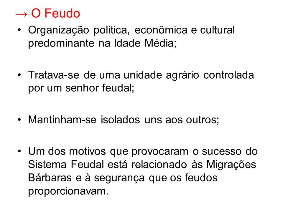 O Feudo Organização política, econômica e cultural predominante na Idade Média; Tratava-se de uma unidade agrário controlada por um senhor feudal; Man