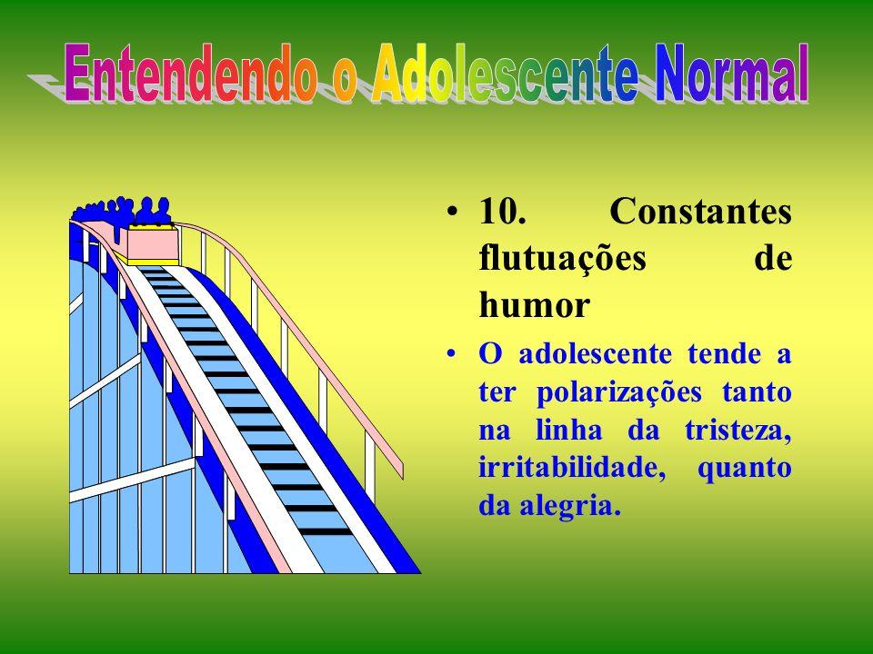 8. Condutas contraditórias Experimentação constante: desvios constantes dos objetivos originais. 9. Separação progressiva dos pais Ambivalência dos ad