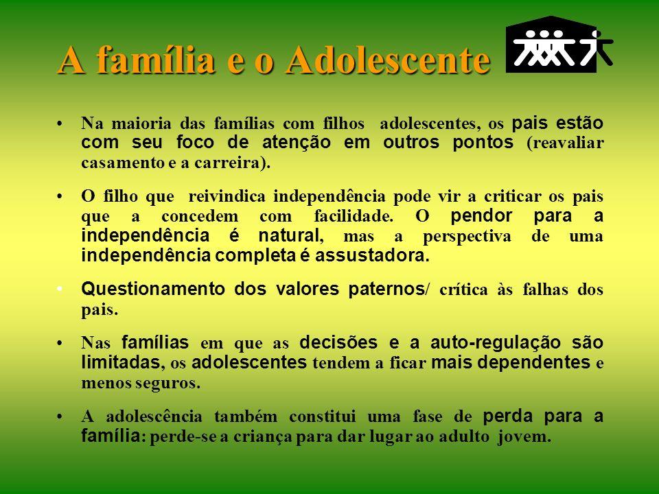 A família e o Adolescente A família deve proporcionar autonomia para o jovem e favorecer seus papéis adultos (socialização/individuação). A flexibilid