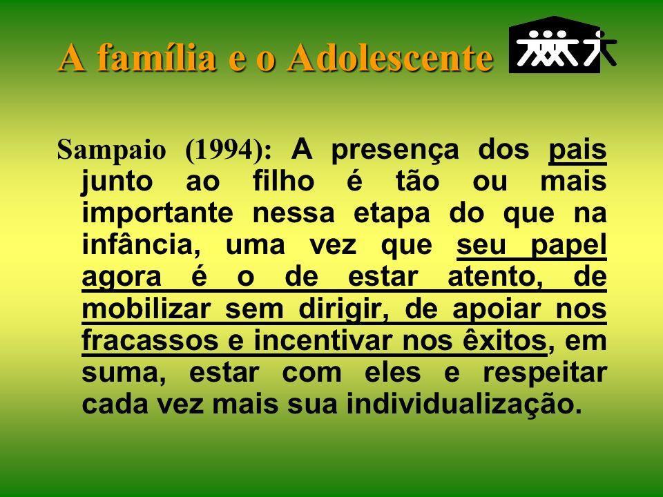 A família e o Adolescente Na maioria das famílias com filhos adolescentes, os pais estão com seu foco de atenção em outros pontos (reavaliar casamento