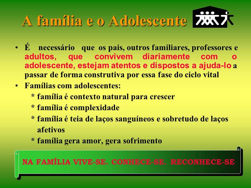 A família e o Adolescente Sampaio (1994): A presença dos pais junto ao filho é tão ou mais importante nessa etapa do que na infância, uma vez que seu