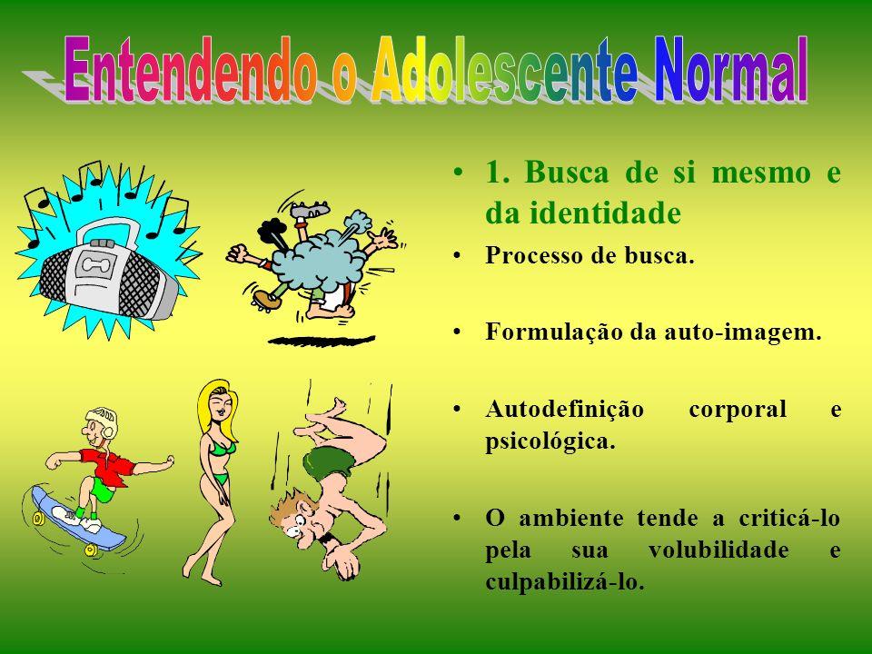 ADOLESCÊNCIA Síndrome da Adolescência Normal (SNA): 1. Busca de si mesmo e da identidade 2. A tendência grupal 3. Necessidade de intelectualizar e fan