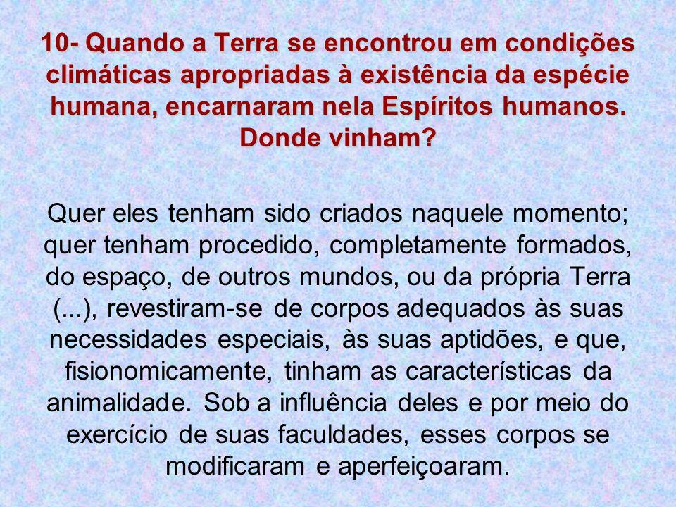 10- Quando a Terra se encontrou em condições climáticas apropriadas à existência da espécie humana, encarnaram nela Espíritos humanos. Donde vinham? Q