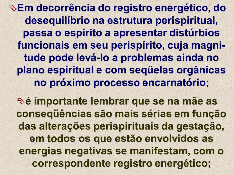Em decorrência do registro energético, do desequilíbrio na estrutura perispiritual, passa o espírito a apresentar distúrbios funcionais em seu perispí