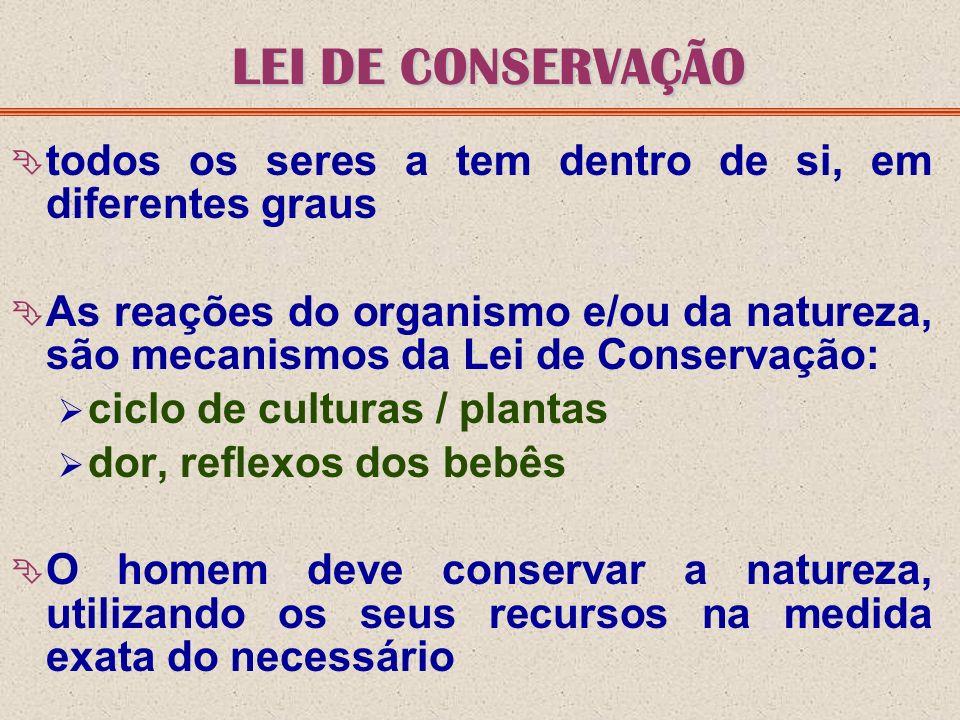 LEI DE CONSERVAÇÃO todos os seres a tem dentro de si, em diferentes graus As reações do organismo e/ou da natureza, são mecanismos da Lei de Conservaç