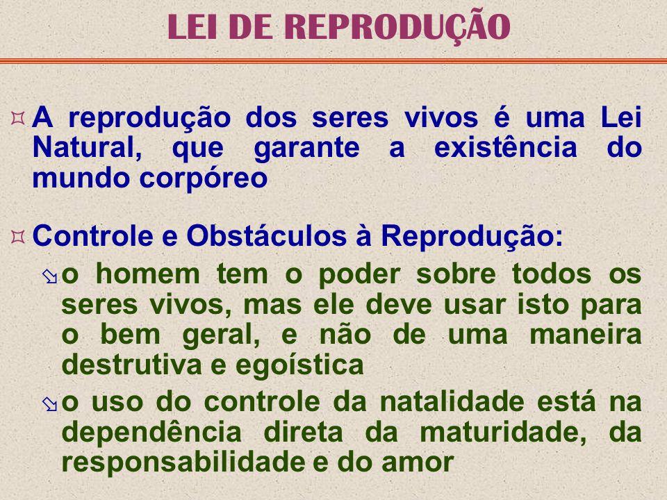 LEI DE REPRODUÇÃO A reprodução dos seres vivos é uma Lei Natural, que garante a existência do mundo corpóreo Controle e Obstáculos à Reprodução: o hom