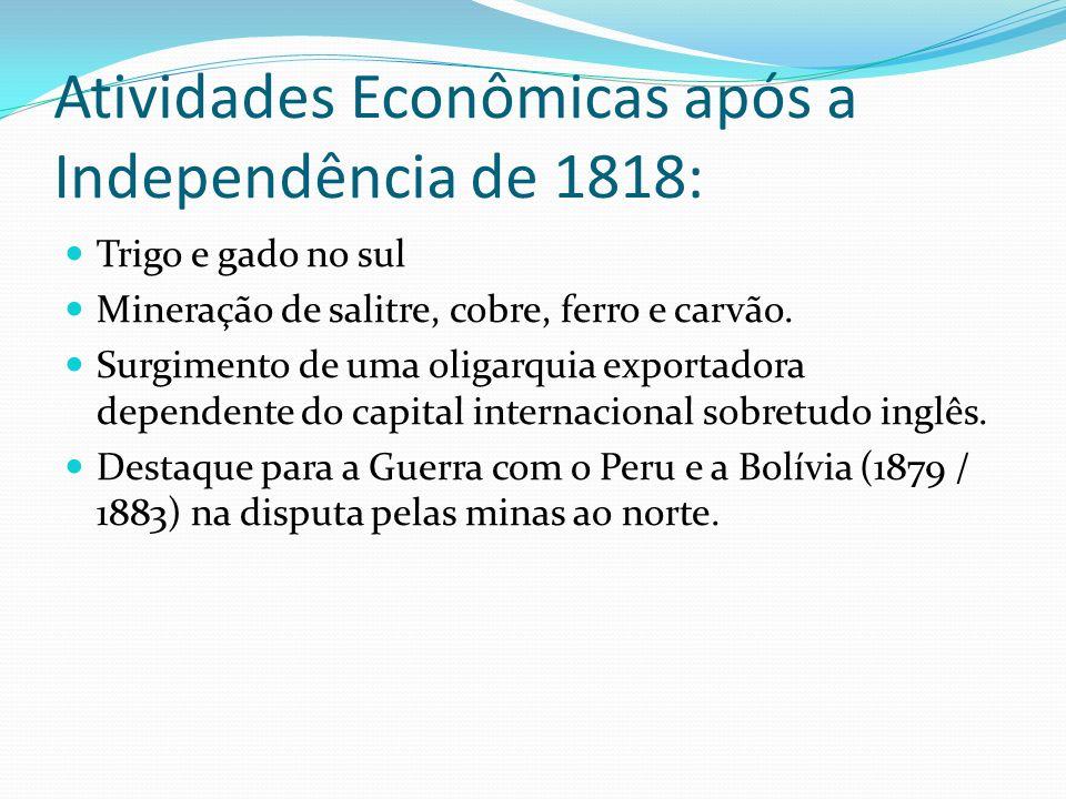 Atividades Econômicas após a Independência de 1818: Trigo e gado no sul Mineração de salitre, cobre, ferro e carvão. Surgimento de uma oligarquia expo