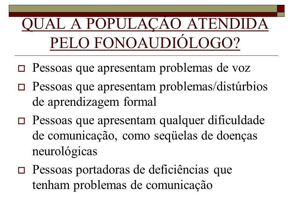 QUAL A POPULAÇÃO ATENDIDA PELO FONOAUDIÓLOGO? Pessoas que apresentam problemas de voz Pessoas que apresentam problemas/distúrbios de aprendizagem form