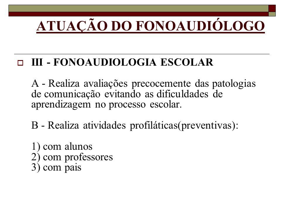 ATUAÇÃO DO FONOAUDIÓLOGO III - FONOAUDIOLOGIA ESCOLAR A - Realiza avaliações precocemente das patologias de comunicação evitando as dificuldades de ap