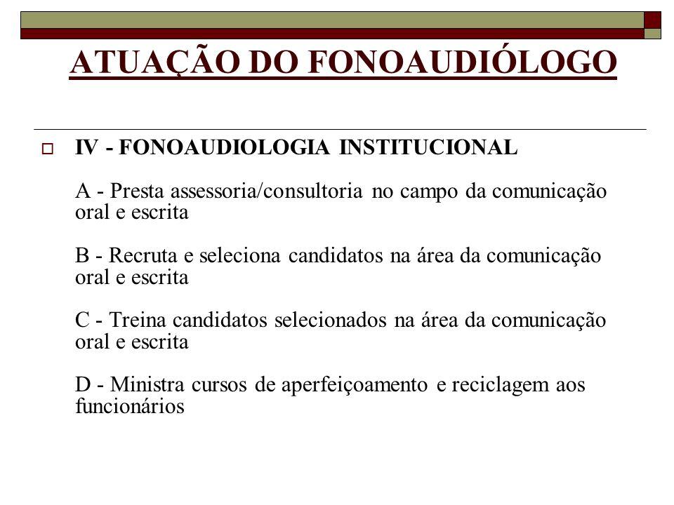ATUAÇÃO DO FONOAUDIÓLOGO IV - FONOAUDIOLOGIA INSTITUCIONAL A - Presta assessoria/consultoria no campo da comunicação oral e escrita B - Recruta e sele
