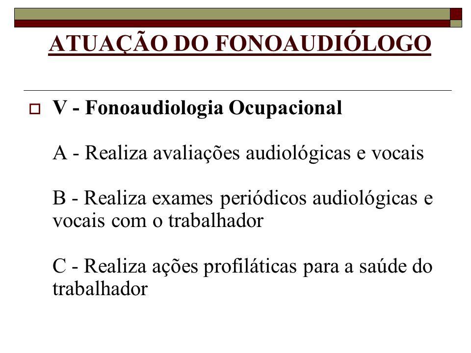 ATUAÇÃO DO FONOAUDIÓLOGO V - Fonoaudiologia Ocupacional A - Realiza avaliações audiológicas e vocais B - Realiza exames periódicos audiológicas e voca