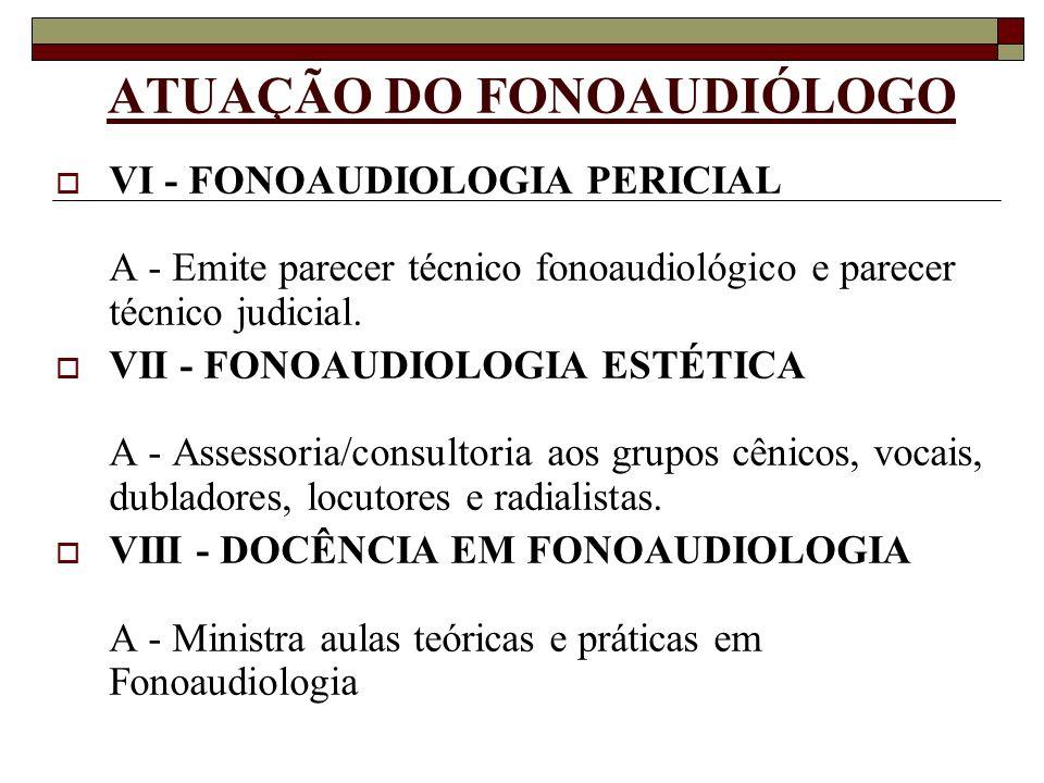 ATUAÇÃO DO FONOAUDIÓLOGO VI - FONOAUDIOLOGIA PERICIAL A - Emite parecer técnico fonoaudiológico e parecer técnico judicial. VII - FONOAUDIOLOGIA ESTÉT