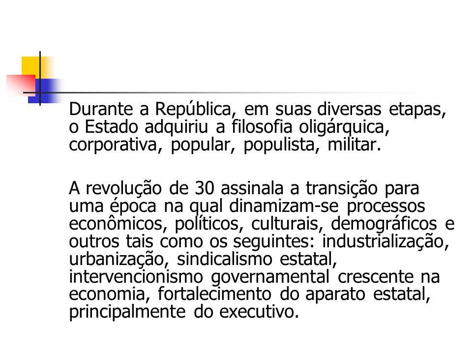 Durante a República, em suas diversas etapas, o Estado adquiriu a filosofia oligárquica, corporativa, popular, populista, militar. A revolução de 30 a