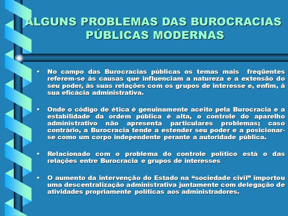 No campo das Burocracias públicas os temas mais freqüentes referem-se às causas que influenciam a natureza e a extensão do seu poder, às suas relações