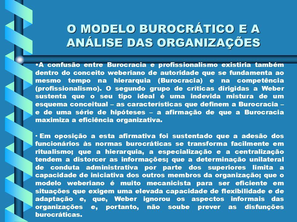 O MODELO BUROCRÁTICO E A ANÁLISE DAS ORGANIZAÇÕES A confusão entre Burocracia e profissionalismo existiria também dentro do conceito weberiano de auto