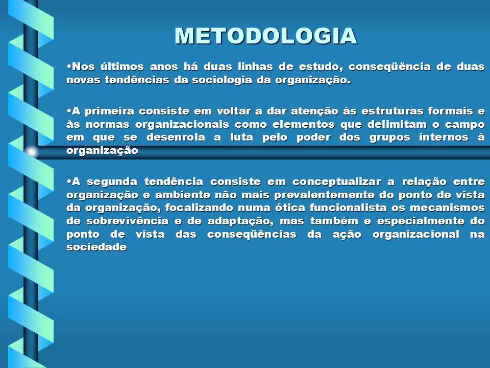 METODOLOGIA Nos últimos anos há duas linhas de estudo, conseqüência de duas novas tendências da sociologia da organização.Nos últimos anos há duas lin